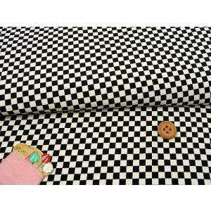ポリちりめん・市松文様(きなり/黒)の商品画像