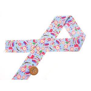 和りぼん3cm幅・桜に蝶(水色)|nunogatari