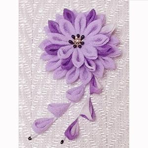 一越ちりめん手芸キット つまみ細工のブローチ 美濃菊(藤色)|nunogatari