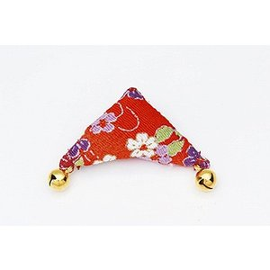 ちりめんつるし飾りパーツ(完成品)・三角(赤) nunogatari
