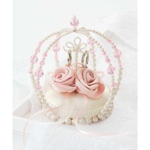 リングピロー手作りキット(縫製済ピロー入)エターナル 巻きバラのクラウン・ピンク|nunogatari