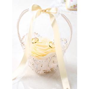 リングピロー手作りキット(縫製済ピロー入)フィオーレ・リボンバスケット シャンパン|nunogatari