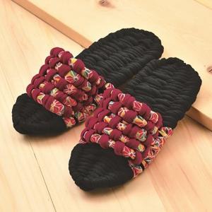 手作りキット 布ぞうり やんわりスリッパ(黒/赤)|nunogatari