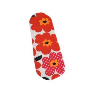 布パッド 北欧風花柄 赤 布ナプキン P-12 オーガニック 生理用品|nunonapu-soala