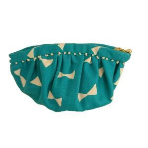 ポーチ リボン柄 エメラルドグリーン SP-12 布ナプキン用 化粧ポーチ|nunonapu-soala