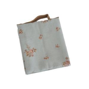 ポーチ 2ポケット 花柄 水色 持ち手付き 生理用 化粧用 サニタリーポーチ SP-9 セール|nunonapu-soala
