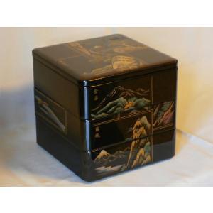 訳あり 限定品 和食器 越前漆器 越前塗り 木製 お重 3段重箱 6.5寸 三段重箱 漆塗り 半額 沈金 東海道 木箱入り|nurimonoya