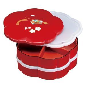 【送料無料】 節目の器。紀州漆器 オードブル 重箱 7.5寸 二段 赤溜 花かがり 桜型 お重 仕切...
