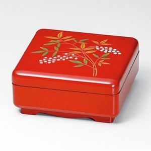 和食器 会津漆器 1段重箱 6.5寸 一段重 南天 会津塗り 朱塗り 一ケ重 ギフト...
