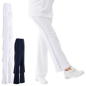 白衣 女性 ナースウェア 後ろゴムパイピングパンツ(S/M/L/LL/3L)|nursery-y