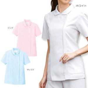白衣 女性 ナースウェア ふわさらタッチ丸衿ジャケット(3L/4L/5L)|nursery-y
