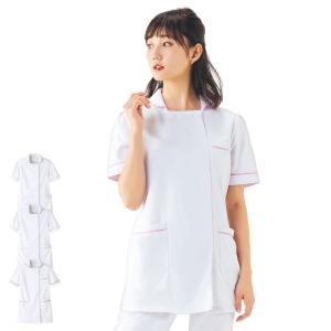 白衣 女性 ナースウェア Aラインチェックジャケット(S/M/L/LL/3L/4L/5L)