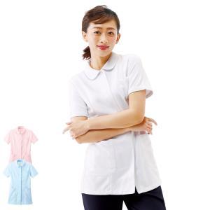 白衣 女性 ナースウェア ロング丈丸衿ギャザージャケット(S/M/L/LL/3L)|nursery-y