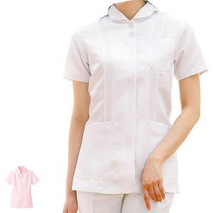 白衣 女性 ナースウェア 花衿プリンセスラインジャケット(S/M/L/LL/3L)|nursery-y
