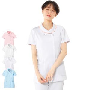 白衣 女性 ナースウェア 配色花衿ジャケット(S/M/L/LL/3L)|nursery-y