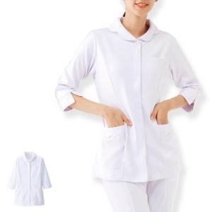 白衣 女性 ナースウェア 花形衿ジャケット(7分袖)|nursery-y