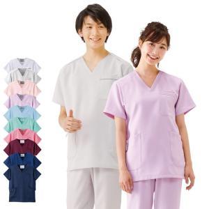 白衣 女性 男性 男女兼用 医療用 半袖 ドクター 医師 看護師 病院 エアリータッチスクラブ|nursery-y