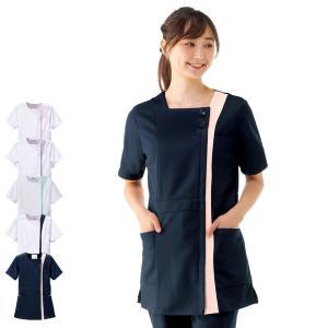 白衣 女性 看護師 ナースウェア 病院 スクエアカラーチュニックジャケット|nursery-y