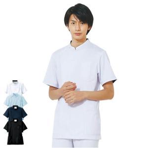白衣 男性 医療用 半袖 ドクター 医師 看護師 病院 ストレッチケーシージャケット(メンズ)|nursery-y