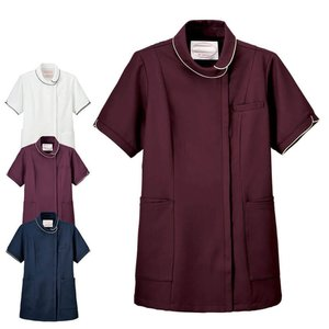 白衣 女性 看護師  病院 エアリータッチ 花ロールカラージャケット|nursery-y