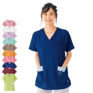 医療 ナース 看護 白衣 女性 男性 カラフルアニマルスクラブ(男女兼用)|nursery-y