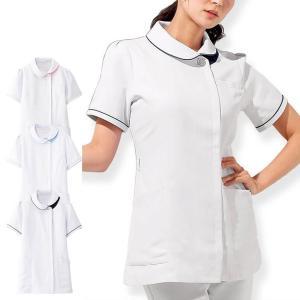 白衣 女性 看護師 制電ツイル アシメ衿ジャケット|nursery-y