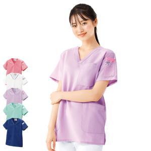 医療 ナース 看護 白衣 カラフルアニマル ちびポケスクラブ(男女兼用)(SS/S/M/L/LL/3L)|nursery-y
