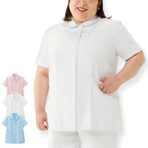 医療 ナース 看護 白衣 女性 サラフィット ゆったり定番ジャケット(3L〜8L)|nursery-y