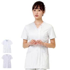 医療 ナース 看護 白衣 女性 ホワイトリリー スクラブジャケット(オープン)|nursery-y
