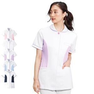 医療 看護 白衣 女性 涼しい 半袖 ユニフォーム レディース 病院 アクティブストレッチクール ショールカラージャケット|nursery-y