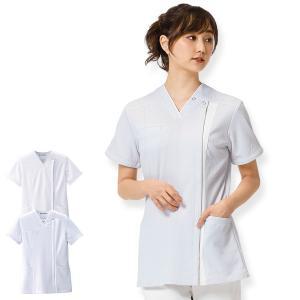 医療 ナース 看護 白衣 女性 ホワイトリリー 切替スクラブジャケット(オープン)|nursery-y