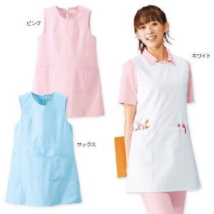 白衣 女性 ナースウェア バックポケット付エプロン|nursery-y
