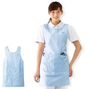 【医療 ナース 看護 白衣 女性】(M-L) 撥水 ストライプエプロン|nursery-y
