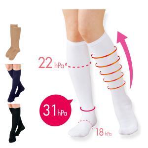 白衣 女性 靴下 医療 白 看護 介護 病院 着圧ハイソックス(3足組)|nursery-y