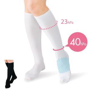 看護師 白衣 女性 靴下 抗菌着圧ハイソックス(1足組)|nursery-y