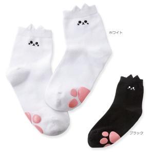 靴下 黒 白 ネコちゃんショートソックス|nursery-y