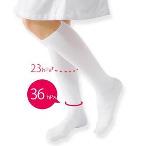 医療用 白  ソックス 看護 介護 病院 靴下 着圧ハイソックス (土踏まずサポート)|nursery-y