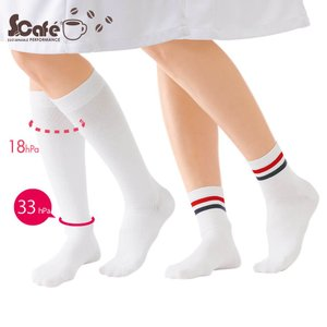 医療 白 ソックス 看護 介護 病院 靴下 ナース コーヒー豆からつくった機能たくさんエコソックス(着圧ハイソックス)|nursery-y
