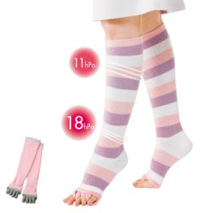 医療 白 ソックス 看護 介護 病院 靴下 ナース 足をいたわるもこもこ着圧ハイソックス|nursery-y