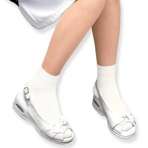 医療用 白  ソックス 看護 介護 病院 靴下 ナース 女性 冷え対策のクルー丈ソックス 2足組 nursery-y