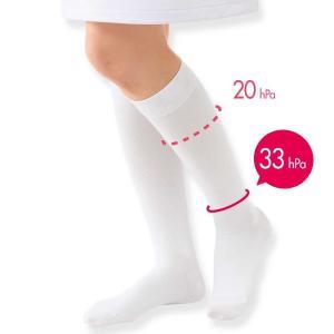 医療用 白  ソックス 看護 介護 病院 靴下 ナース 女性 サラッとタッチの着圧ハイソックス(1足組)|nursery-y