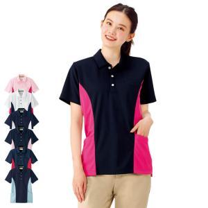 サイド切り替え配色ポロシャツ 介護 医療 ヘルパー|nursery-y