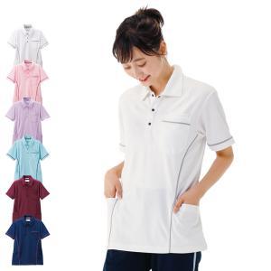 看護 介護 病院 保育士 ケア ヘルパー ユニフォーム サイドパイピング切り替えポロシャツ|nursery-y