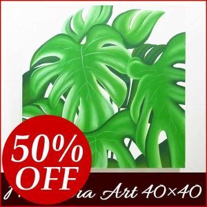 バリ絵画 モンステラ 40×40 アジアン インテリアアート  リゾート 南国 ハワイ|nusa