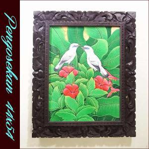 バリ絵画 アジアン/バリ絵画 花鳥風月 プンゴセカンMP-005|nusa