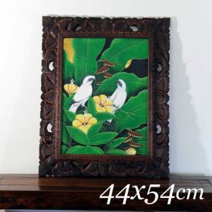 バリ絵画 44x54 アジアン/バリ絵画 花鳥風月 プンゴセカンMP-006|nusa