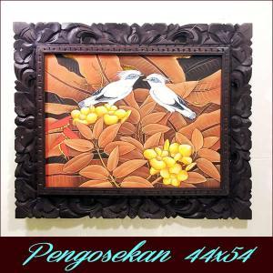 バリ絵画 44x54 アジアン雑貨 バリ絵画 花鳥風月 プンゴセカンMY-04|nusa