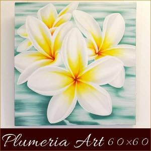 バリ絵画 プルメリア60×60シーグリーン バリアート アジアン雑貨 インテリア 絵 フランジパニ|nusa