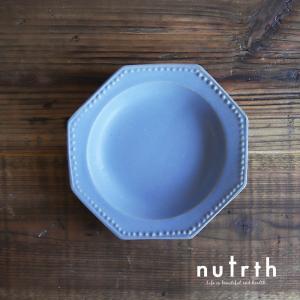 益子焼 わかさま陶芸 プレート ドットオクトゴナル (ブルーグレー)|nutrth