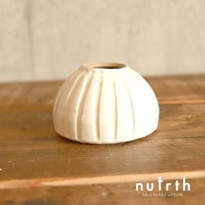 【益子焼】わかさま陶芸 一輪挿し ドーム 白|nutrth